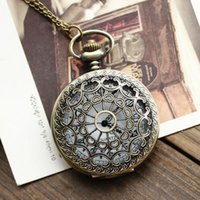 antique clocks and watches - 2015 hot Vine classical Bronze Pocket Watch Quartz clock Necklace Chrysanthemum Hollow Necklace for men and women free ship