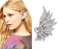 Wholesale Fashion Euramerican Exaggerated Vintage Earrings Full Crystal Angel Wing Spirit Ear Cuff For SE409