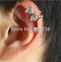 Wholesale 12pcs Gothic Punk Rock Silver Plated Leaf Clip On Ear Cuff Earring Women Men Wrap No Piercing Hot
