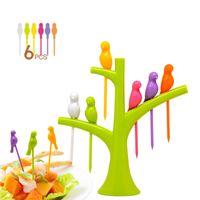 Wholesale Tree Birds Design Plastic Fruit Forks Set Rainbow Color Party Reuse Dessert Cake Fruit Picks Kitchen Accessories