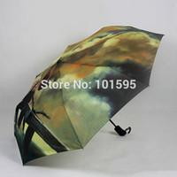 anti wind umbrella - New Creative Novelty Romantic Exquisite Beauty Floral Landscape Oil Painting Folding Umbrella Anti uv Rain Snow Wind Sunshine