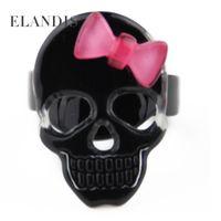 Wholesale Acrylic Skull cute bow punk Elastic rings personality fashion women Creative gift charm jewelry RG00006