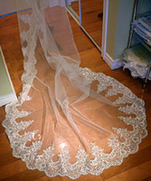 Wholesale 2015 New Gorgeous Real Image Wedding Veils Three Meters Long Veils Lace Applique Crystals Sheer Tulle Cathedral Length Cheap Bridal Veil
