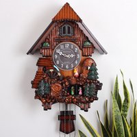 Wholesale Haiteng cuckoo clock cuckoo clock chime light control music living room wood wall clock creative fashion watches