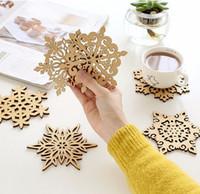 wooden coaster - Wooden Snowflake Mug Coasters Holder Chic Drinks Coffee Tea Cup Mat Decor Mats