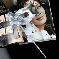 Wholesale Masquerade ball Mask Lady dance Masks Painting Powder On Stick Gold Edge Carnival Halloween Party Masks with Flower