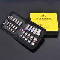 Wholesale 15pcs leather belt puncher pu piercing eyelet work punch hole tool set
