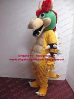 bowser costume - Custom Yellow King Bowser Koopa Super Mario Bros Mascot Costume Dragon Turtle With Green Head Mascotte Adult No Free Ship