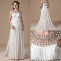 beach model photos - Real Photo Informal Chiffon Crystals Maternity Wedding Dresses Gowns Empire Waist Designer Bridal Gowns For Pregnant Women wd6940