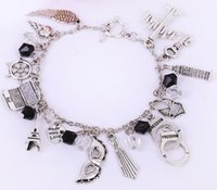 Wholesale Retro silver tone bracelet Fifty Shades Of Grey combination towel handcuffs crystal bangle womens jewelry a831