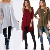 Wholesale Autumn and winter women sweaters and pullovers Long sleeve cotton oblique neck irregular dress long sweaertshirts