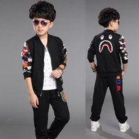 suits for 4 year old boys - 2015 autumn boys crocodile mouths suit black children clothing sets for girls and boys for years old ZKS