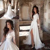 Wholesale Modest A Line Wedding Dresses with Long Sleeves Side Split Chiffon Vintage Lace Illusion Neck Cheap Spring Garden Beach Bridal Gowns