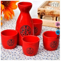 japanese ceramics - Bar Tools ml ml Cups Painted Sculptures Ceramic Japanese Sake Style Wine Sets With Alcohol Mat Hip Flask