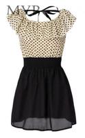 Wholesale 2014 New Japan Korean Women Fashion Short sleeve Dots Polka Mini Summer Chiffon Dress Sizes
