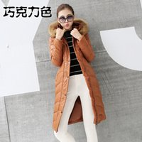 Cheap Winter Down Jackets 2014 High Quality Brand Women Warm Slim Large Fur Collar Goose Down Parkas Black Lady Long Down Coats TT01