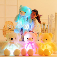 bear doll white - Creative toy Cute music teddy bear cute plush toy doll pillow LED glow pillow soft light up stuffed animals CM music doll
