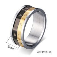 american numerals - non mainstreamRoman numerals titanium steel ring ring European and American trend of jewelry rotatable R