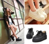 creepers - Details about Women s Platform Lace Up Flats Creepers Goth Punk Shoes Retro Black White Sizes
