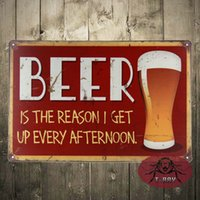animals reason - Vintage sign BEER is the reason i get up every afternoon tin plate signs Garage shop cafe decor