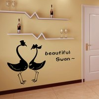 PVC beautiful bathroom decor - Removable Vinyl Lettering Quote Wall Decals Home Decor Sticker Mordern art Mural for Bedroom Living Room beautiful swan Decoration Wallpaper