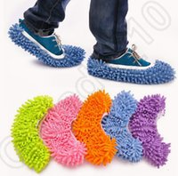 Wholesale 8LOT HHA687 Hot Sell Dust Chenille Microfiber Mop Slipper House Cleaner Lazy Floor Cleaning Foot Shoe Cover