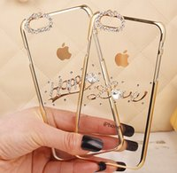 Wholesale 2015 Luxury Diamond Electroplate Cell Phone Cases For Iphone iphone plus iphone S S With Cover Skin Exact Size Transparent Case