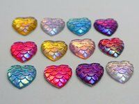 ab patterns - 100 Mixed Colour AB Flatback Resin Fish Scale Pattern Heart Cabochon mm