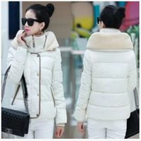 Wholesale New To Keep Warm Thicken Feather Down Cotton padded Jacket Cultivate One s Morality Women Short Paragraph Cotton padded Clothes k1344