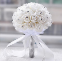Wholesale 2015 Cheap White Ivory rose et blanc wedding bouquet Bridesmaid artificial flower rose bouquet Crystal bridal bouquet de mariage Hot Sale