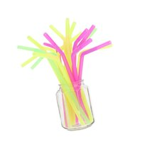 Wholesale Milk Tea Milkshake Supplies Party Event Bar Accessories cm Long Colored Striped Drinking Plastic Straws pack