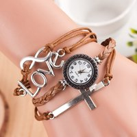 Wholesale 2015 New Fashion Vine Leather Wristwatch Casual Bracelet Watch With The redemption of the cross of love For Women Girls GiftZ00040