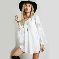 western dresses - 2015 Women Floral Embroider Lace Short Party Dresses Loose Boho Summer Beach Dress Western Fashion Bell Sleeve Ruffles Casual Dresses