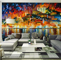 Wholesale Custom any size D wall mural wallpapers Retro personality city study Coffee Museum background oil painting wall paper