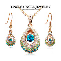 Wholesale 18K Rose Gold Plated Geraniums Princess Design Green Water Drop Austrian Crystal Lady Jewelry Sets Earrings Necklace