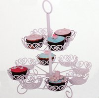 Wholesale 2015 New Arrival Dessert Stand For Wedding Event Favor with Two Tiers Pieces Cupcake Stands Living Room Fruit Snack Birthday Party CGL409