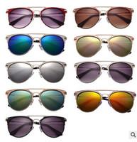 eye glasses - 2015 NEW summer style reflected sunglasses women brand designer UV400 metal frame retro vintage cat eye sun glasses for women