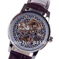 Wholesale Men s Automatic Self wind Skeleton Watch CJIABA Brand Militay leather strap Fashion and outdoor watches For men GK1015