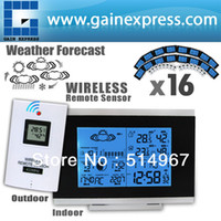 Wholesale 16 pieces x Indoor Outdoor Wireless Weather Station Temperature Humidity Remote Sensor Date Radio Controlled Clock RCC DST F C