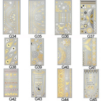 temporary lip tattoos - 120pc waterproof body art painting tattoo sticker glitter Metal gold silver temporary flash tattoo Disposable indian tattoo tattoos