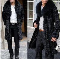 best mink coats - Fall Best selling Winter men faux fur coat Black Elegant warm splice mink coat Soft and comfortable Fox fur collar long faux fur coat