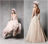 Skirting - DW New Fashion A line Sweetheart Simple Tulle Skirt Blush Wedding Dress Peach Colored Floor Length Elegant Chiffon Wedding Gowns