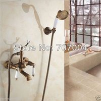 bathtub shower hose - New Arrival Wall Mounted Fashion Telephone Style Bathtub Faucet W hand Shower Sprayer Hose Bracket