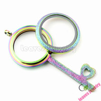 Wholesale stainless steel waterproof Rainbow color Frosted Screw Twist memory living glass Locket key fit floating locket charms necklace