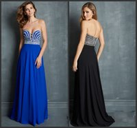 Cheap Chiffon Sweetheart Black Aqua Royal Blue Evening Dress With Silver Stones 2014 Prom Gowns