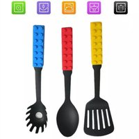 Wholesale 3 In Building Block Style Silicone Cooking Tool Sets Spaghetti Fork Solid Spoon Flat Turner Useful Kitchen Accessories Gift