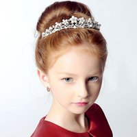 Wholesale Pearls With Crystal Rhinestone Tiaras Children Flower girls party princess Christmas party Wedding Hair Accessories Jewelry New Style