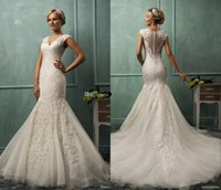 Wholesale 2015 Amelia Sposa V Neck Cap Sleeve Mermaid Wedding Gowns Lace Tulle Appliqued Fit Flare Sheer Backless Plus Size Bridal Party Dress