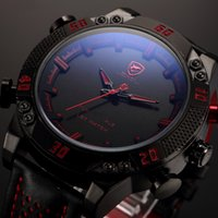 Wholesale Shark Sport Watch Black - Kitefin Shark Luxury Brand Sport Watches Men Relogio Masculino Dual Time Alarm Leather Strap Wristwatch Mens Military Digital Watch   SH261