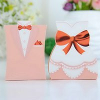 Wholesale card paper Pink Dress Tuxedo bride and groom candy box wedding favor boxes